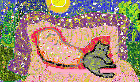 Baby in Blanket and Cat by Beebe  Barksdale-Bruner