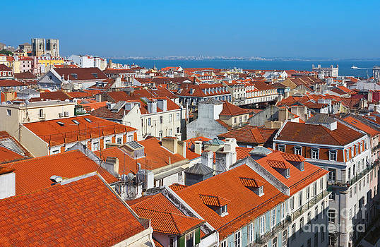 Baixa City Center of Lisbon Panoramic View by Kiril Stanchev