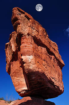 Balanced Rock at Garden of the Gods with Moon by John Hoffman