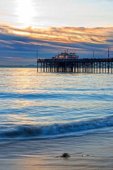 Balboa Pier Evening Calm Portrait by Chris Brannen