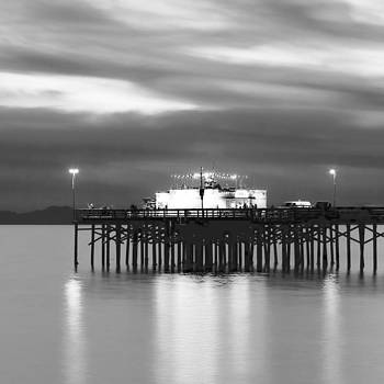 Balboa Pier Night Glow Blk Wht by Chris Brannen