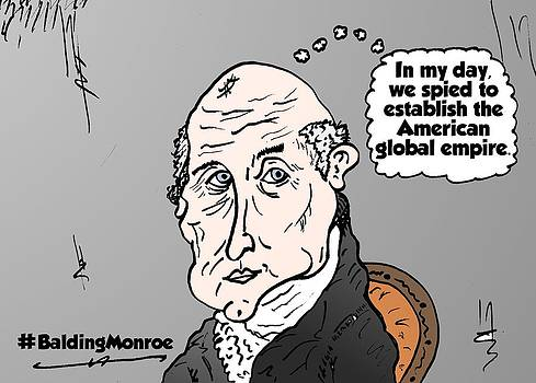 Bald President Monroe caricature by OptionsClick BlogArt