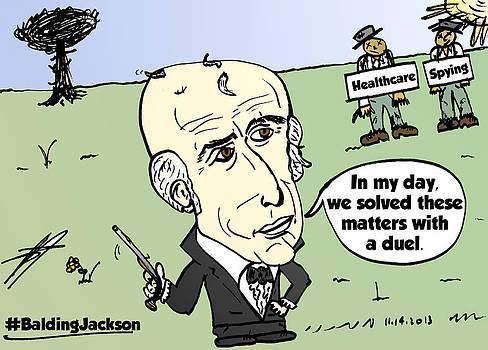 Balding President Jackson cartoon by OptionsClick BlogArt