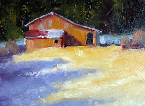 Barn and Purple Shadows by Renee Peterson