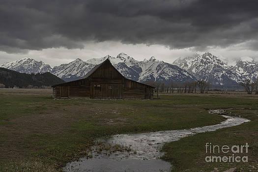Barn and The Tetons by Steve Triplett