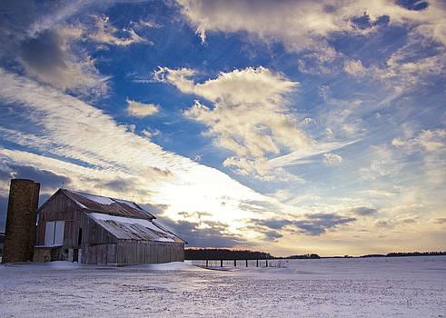 Barn at Sunset in Winter by Michael Huddleston