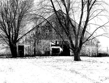Barn in B and W by Claude Oesterreicher