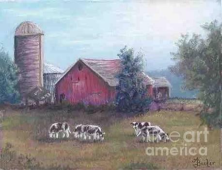 Barn Scene Holsteins by Ann Becker
