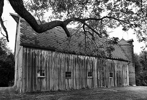 Barn with Brick Silo in black and white by Julie Dant