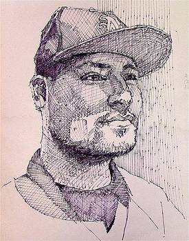 Baseball fan quick sketch by David Lobenberg