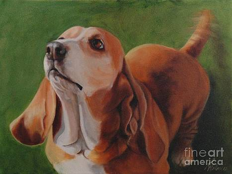 Basset Hound Wagging by Pet Whimsy  Portraits