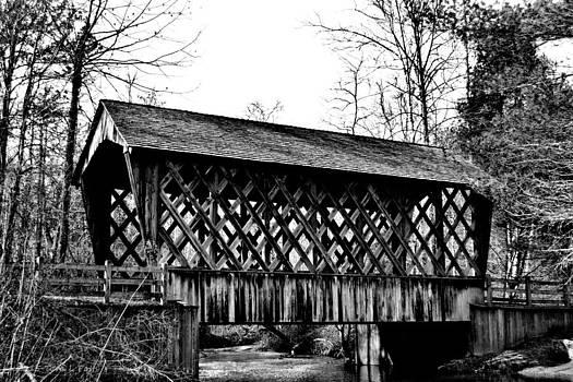 Bay Covered Bridge in Monochrome by Tara Potts