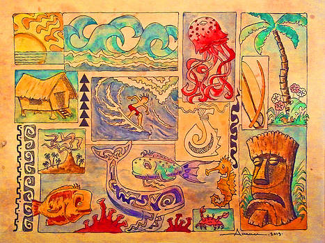 Beach and surf collage by Aaron Bodtcher