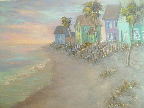 Beach Cottages Beach Painting by Amber Palomares