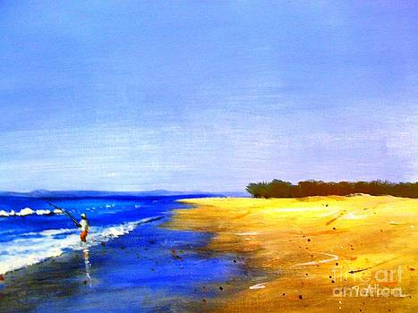 Beach Fishing - original sold by Therese Alcorn