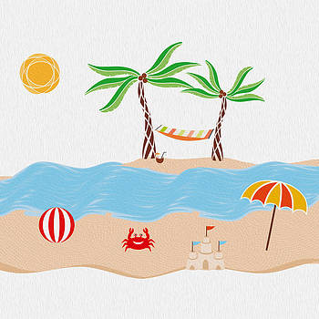 Beach Fun Illustration by Cosmin Bicu