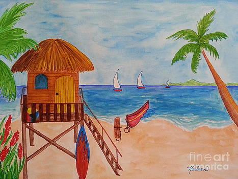 Beach Hut and Sailboats by Karleen Kareem