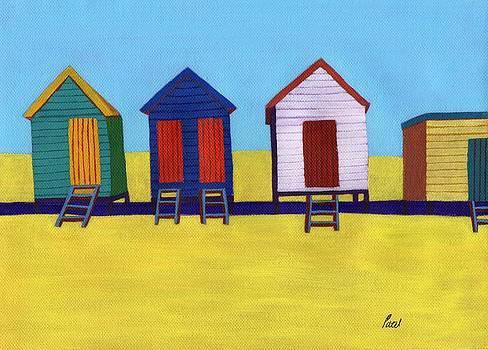 Beach Huts by Bav Patel