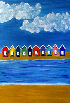 Beach Huts by Sandy Wager