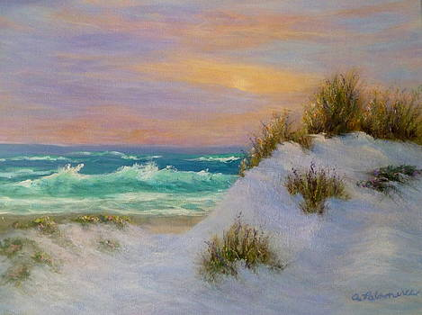 Beach Sunset Paintings by Amber Palomares