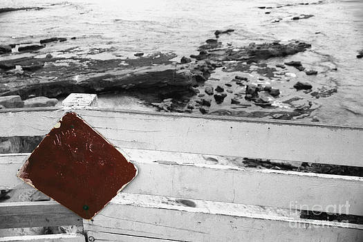 Heather Kirk - Beachside Warning Horizontal BW with Colorized Red Sign