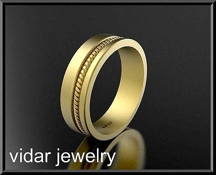 Beautiful 14k Yellow Gold Unisex Wedding Ring by Roi Avidar