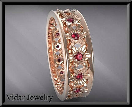 Beautiful and Unique Red Ruby 14k Rose Gold Flower Woman Wedding Ring by Roi Avidar