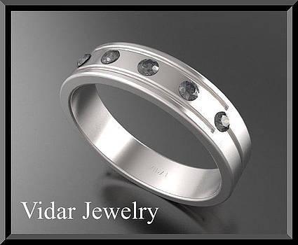 Beautiful Black diamond 14k White Gold Men's Wedding Ring by Roi Avidar