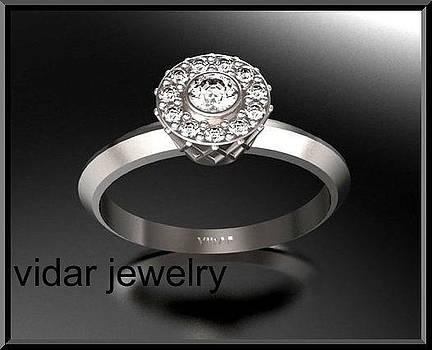 Beautiful Diamond 14k White Gold Engagement Ring by Roi Avidar