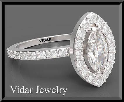 Beautiful Marquise Diamond 14k White Gold Engagement Ring by Roi Avidar