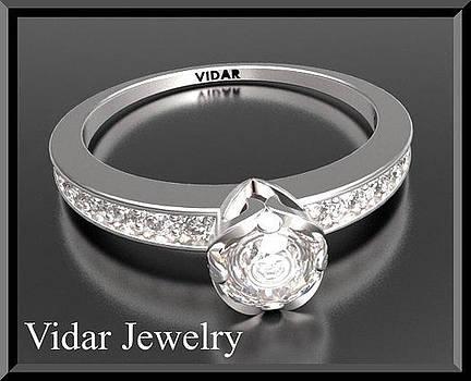 Beautiful Round Diamond 14k White Gold Engagement Ring by Roi Avidar