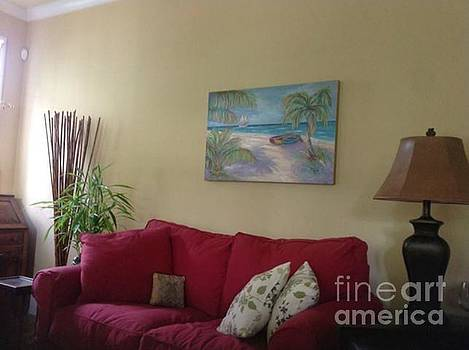 Belize Beach on the wall by Jeanne Forsythe