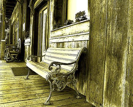 Bench outside the saloon by Anne Mott