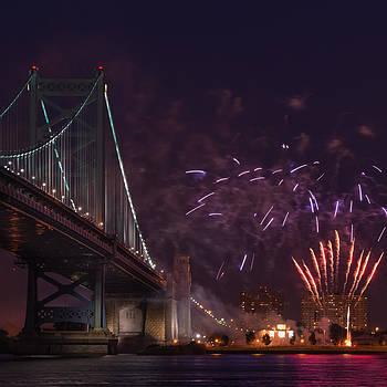 Benjamin Franklin Bridge and Fireworks In Philadelphia Pennsylvania by Linda Karlin