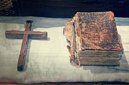 Bible and Cross by Cheryl Cencich