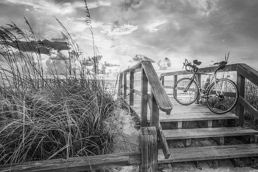 Debra and Dave Vanderlaan - Bicycle at the Beach in Black and White