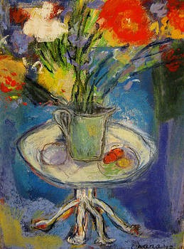 Big Red Flowers in a Pale Green Vase  by Tolere