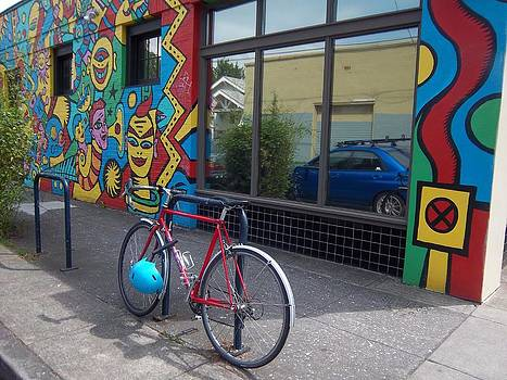 Bike and Mural in Portland by Carrie Williams