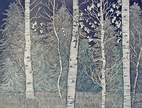 Birch Trees in Winter by Norma Tolliver