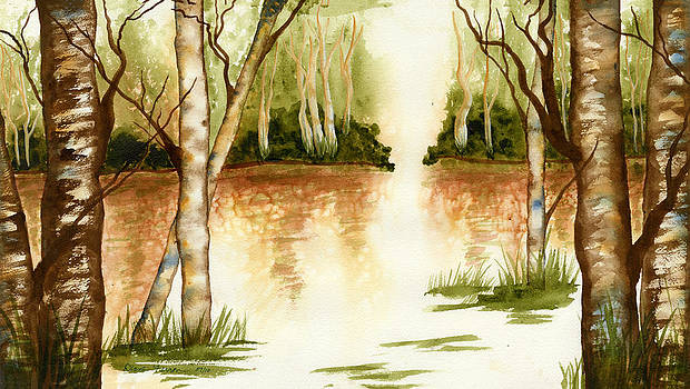 Birch Trees on the Lake by Diane Ferron