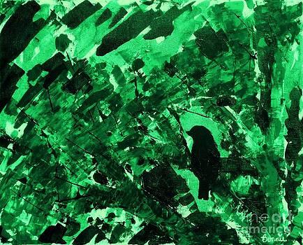Bird in Tree Emerald Green by Bonnie Cushman