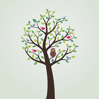 Birds and Owl in theTree by Cosmin Bicu