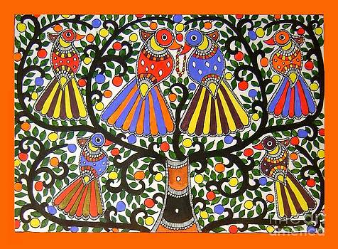 Birds-Madhubani Painting by Neeraj kumar Jha