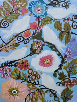 Birds On The Vine-cottage Bird Garden by Karen Fields