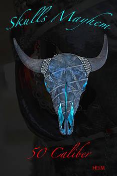 Black and Silver Illuminating Buffalo Skull by Mayhem Mediums