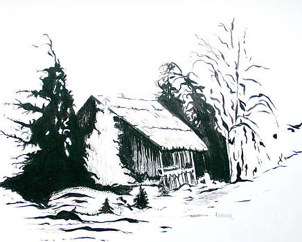 Black and White Barn in Snow by Joyce Gebauer