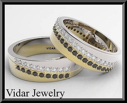 Black And White Diamond 14kt Yellow And White Gold Wedding Band Set by Roi Avidar