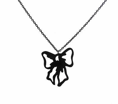 Black Bow Pendant Necklace by Rony Bank