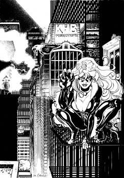Black Cat on Fire Escape by Ken Branch