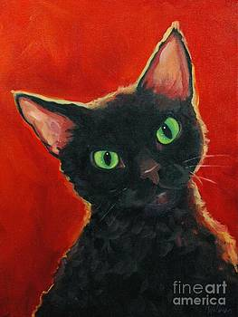 Black Devon Rex Cat by Pet Whimsy  Portraits
